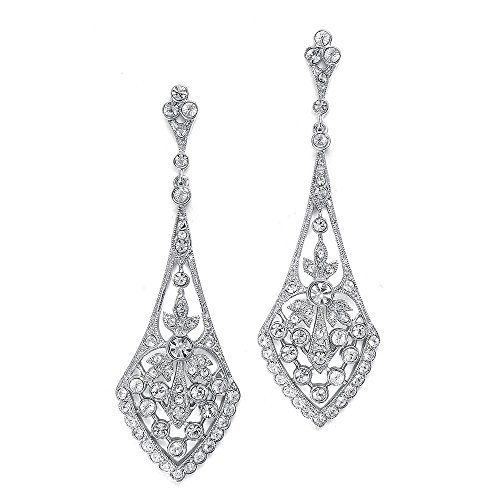 Mariell Zirconia Crystal Art Deco Silver Wedding Dangle Earrings for Women, Jewelry for Bride, Bridesmaid (Sterling Silver Earrings Antique)