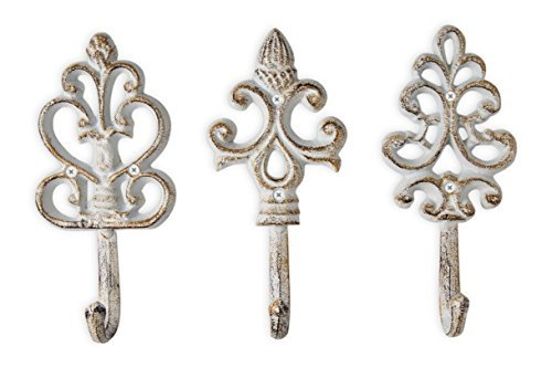 Shabby Chic Cast Iron Decorative Wall Hooks - Rustic - Antique - French Country Charm - Large Decorative Hanging Hooks - Set of 3 - Screws and Anchors for Mounting Included