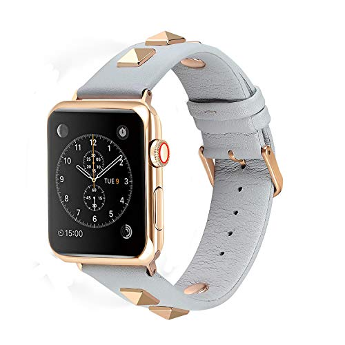 Solomo Compatible for Apple Watch Band 38mm 40mm, Fashion Women Genuine Leather Replacement Strap 3D Studs Spikes Rivets Rock Punk Rose Gold Metal Adapter Buckle iWatch Series 4/3 / 2/1 (Light Blue) ()