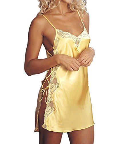 Shirley of Hollywood Women's Charmeuse and Lace Chemise, Buttercup, Small ()