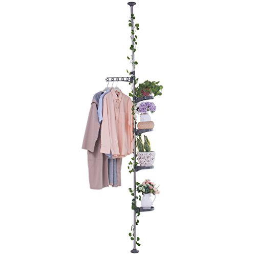 Baoyouni 5-Layer Tension Pole Plant Stands Indoor Metal Flower Display Rack Space Saver Floral Pot Hanging Shelf (Floral Plant Stand)