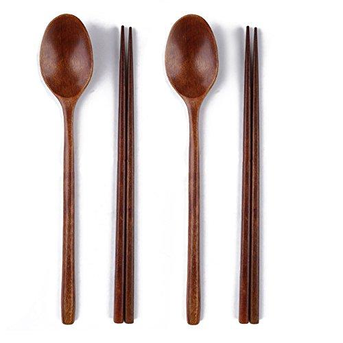 Ecloud Shop Woden spoon chopsticks sets Korean dinnerware combinations ()