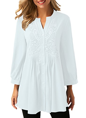 Astylish Women's Notch Neck Long Sleeve Button Down Loose Tunic Blouse Tops