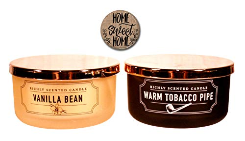 DW Home Man Candles - 2 Wick Vanilla Bean Warm Tobacco Pipe Gift Set Home Sweet Home Fridge Magnet