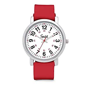 Speidel Scrub Watch for Medical Professionals with Red Silicone Rubber Band - Easy to Read Timepiece with Red Second Hand, Military Time for Nurses, Doctors, Surgeons, EMT Workers