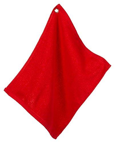Hemmed Sport Towel (UltraClub Large Velour Hemmed Edges Grommet Golf Towel, One, Red)