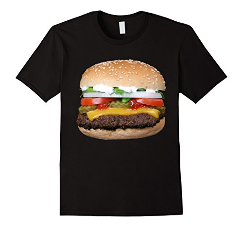 [Men's Burger Cheeseburger matching with Fries costume t-shirt Large Black] (French Fries Costume Diy)