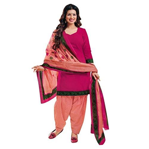 Readymade Printed Cotton Patiala Salwar Kameez Indian Womens Dress Pakistani Salwar Suit (Size_44/ Rani Pink)