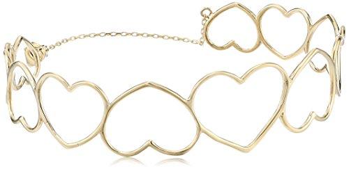 14k Italian Yellow Gold Open Hearts Bangle Bracelet, Adjustable 7