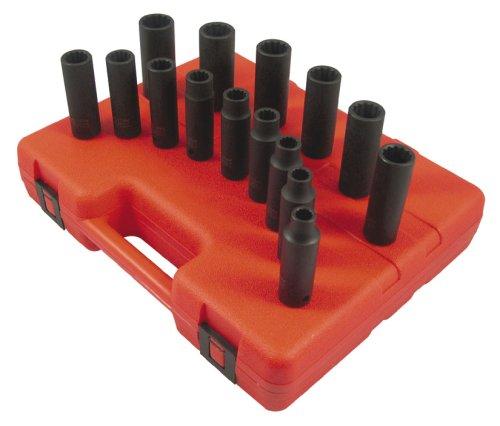 1/2' Metric Deep Impact Socket - Sunex 2672 15 Piece 1/2