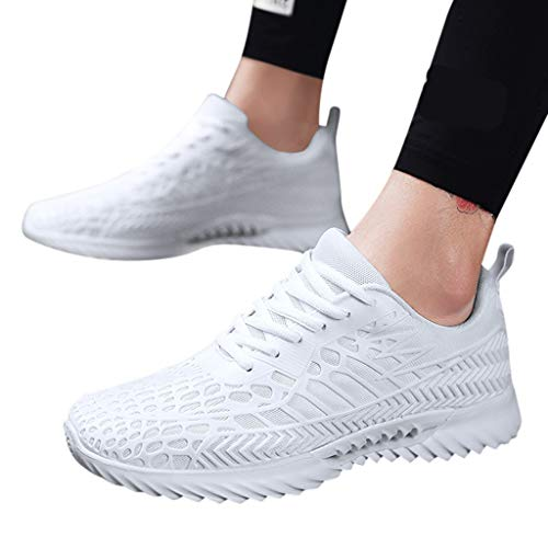(Men's Sneaker, for Women Couple Walking Shoes Mesh Casual Athletic Shoes Running Shoes Comfortable Walk Sneaker White)