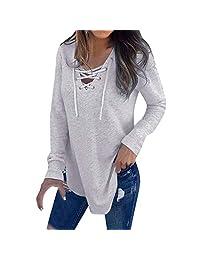 E-Scenery Clearance Sale! Women's Bandage Blouse Casual Strap Long Sleeve V-Neck T-Shirt Tops