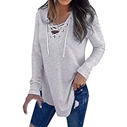 Morecome 2019 New Women Cross V Neck Lace Up Strap Long Sleeve Fashion T Shirt Top Spring Blouse
