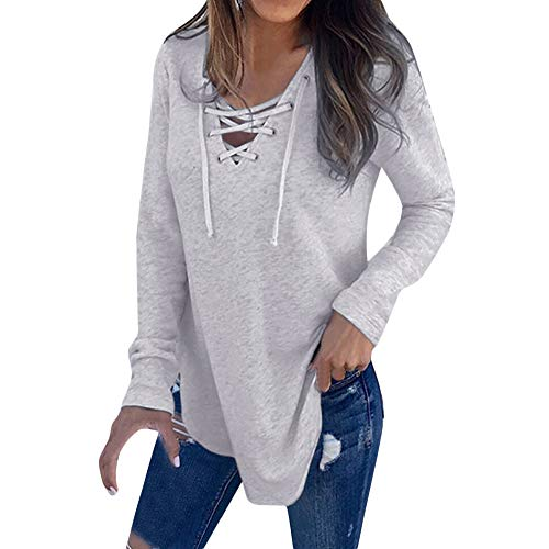 Sunhusing Women's V-Neck Cross Bandage Strap Long Sleeve Pullover Top Loose Casual Solid Color T-Shirt (M, Gray)