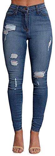 Baifern Women's Mid Waist Zipper Fly Skinny Long Jeans