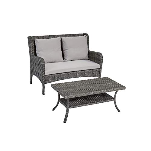 Great Deal Furniture 306445 Duncan Outdoor Wicker Loveseat and Coffee Table, Dark Gray and Silver