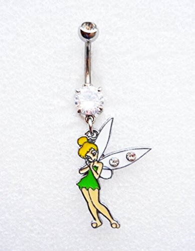 TINKERBELL FAIRY CZ Navel Belly Button Ring Body Jewelry Piercing