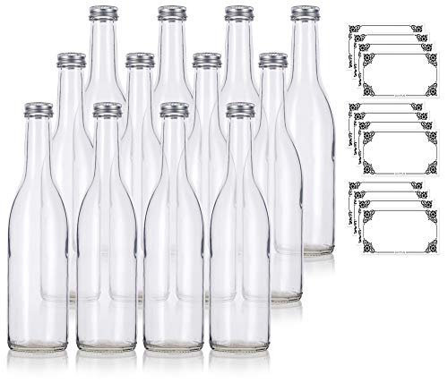 Label Oz Bottle 12 (12 oz Clear Glass Vintage Bottle with Silver Aluminum Cap (12 pack) + Labels for Sauce, Dressings, Syrup, and Marinades)