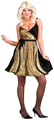 Bee Gees Halloween Costumes (Forum Novelties Women's 70's Disco Fever Deluxe Disco Gold Costume Dress, Multi, One Size)
