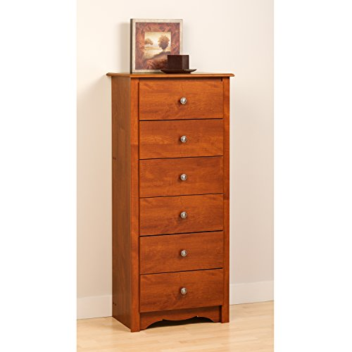 Cherry Monterey Tall 6 Drawer Chest (Tall Bedroom Dresser)