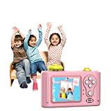 HWUKONG Kids Camera HD 1.5 Inch Screen Children Camera Screen Mini Digital Camera with 8GB SD Card Non-Slip and Anti-Drop, Kids Video Camera for 3-9 Girls & Boys Gifts,Pink
