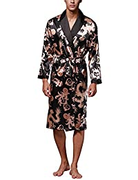 Dolamen Men's Dressing Gown Bathrobe Satin Kimono Nightwear Pyjamas