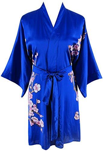 Ledamon Women's 100% Silk Kimono Short Robe - Classic Handpainted Enclosed in an Elegant Gift Box (Sapphire -