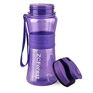 ZCForest 18oz 550ml Portable Wide Mouth BPA-Free Kids Water Bottle and Portable Travel Sports Water Bottles --Purple