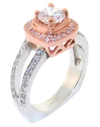 Square Halo Diamond Semi-Mount Engagement Cocktail Ring .30 CTS 18k Split European Shank