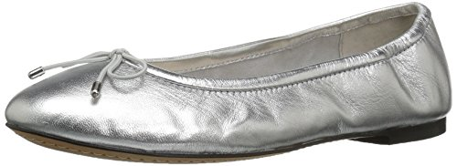 206 Collective Women's Madison Ballet Flat, Silver Metallic Leather, 7 C/D US (Metallic Flats Leather Ballet)