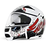 Vega Boolean Escape BLN-ESC-WR-M Flip-up Graphic Helmet with Double Visor (White and Red, M)
