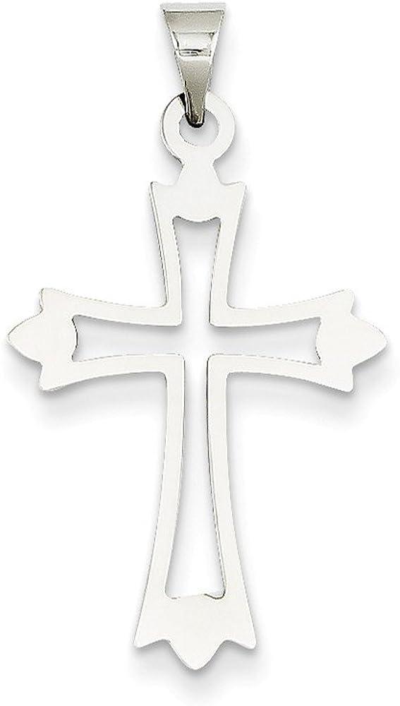 14k White Gold Budded Cross Pendant