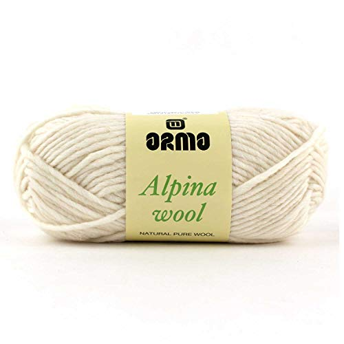 Alpina Wool (Ivory) 4 Pack (Skeins) Wool Roving Yarn - (5) Bulky 100% Wool - 3oz - for Crochet, Knitting & Crafting (Knitting Yarn Wool Knitting)