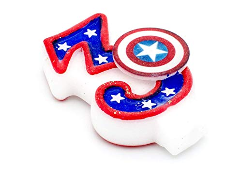 Captain America Cake Ideas (Captain America Birthday Candle - Marvel Avengers, Boys 3rd Birthday Cake Decorations, Toppers, Captain America Birthday Party)