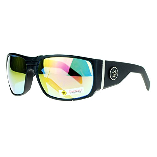 Biohazard Mens Oversized Thick Temple Biker Warp Skater Shade Sunglasses Black - Skater Glasses