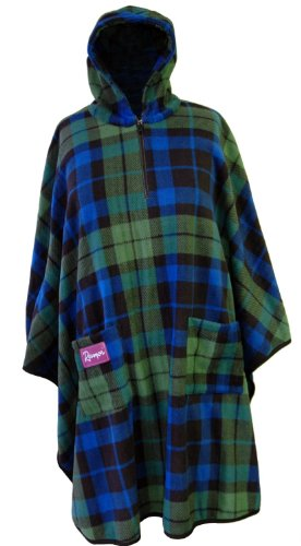 Cozee-On-The-Go Poncho Sitting Garment, Black Watch Fleece