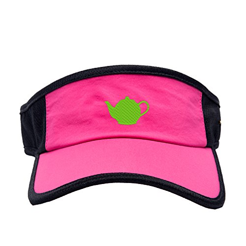 Women Visor Teapot Embroidery UV Protection Sun Hat Beach Cap Pink (Teapot)
