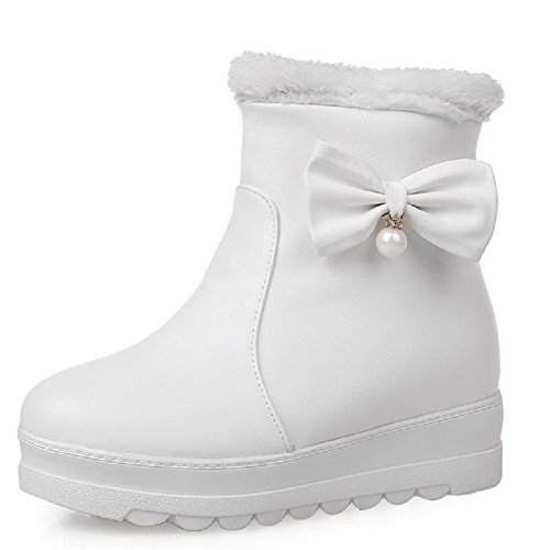 Soft Solid Women's Heels Boots White Pull On Material Allhqfashion Toe Round Closed Low w5Eq7d