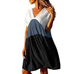 Aanny Women S Casual Patchwork Gradient Color V Neck Short Sleeve Ruffled Loose Dress Stretchy Party Cocktail Wedding