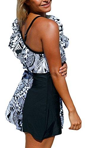OLIPHEE - Traje de una pieza - para mujer negro y blanco