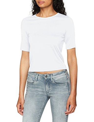 G Silber shirt white s Raw star S Wmn Cropped T Blanc R Femme T RxBRwqE