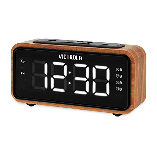 Victrola Bedside Clock with FM Radio (Retro Alarm Clock Radio)