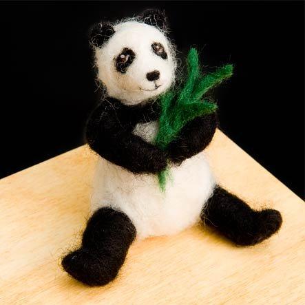 Panda Bear Wool Needle Felting Craft Kit by WoolPets. Made in the USA. (Panda Wool)