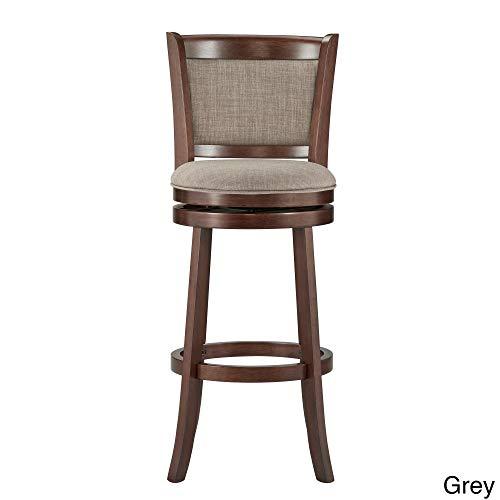 (Inspire Q Verona Panel Back Linen Swivel 29-inch High Back Bar Stool by Classic - N/A Grey Linen Cherry Finish, Wood Finish)