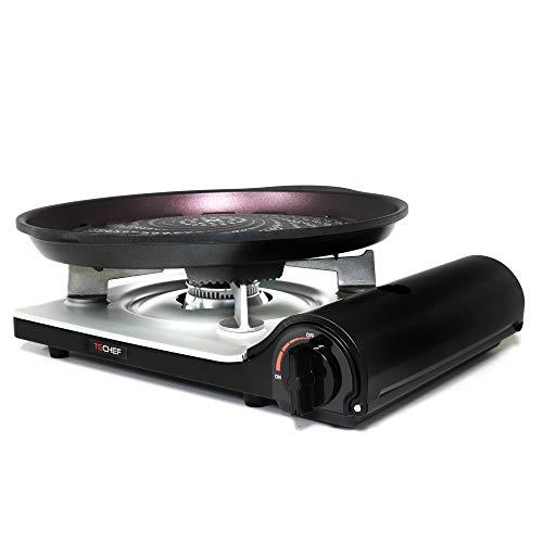 TeChef – Stovetop Korean BBQ Non-Stick Grill Pan with Portable Butane Gas Stove Burner Set