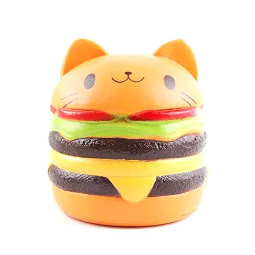 Uspeedy Cute Squishy Slow Rising Soft Squishy Charms Toy for Stress Relief and Time Killing (1 4 Burger Cat)