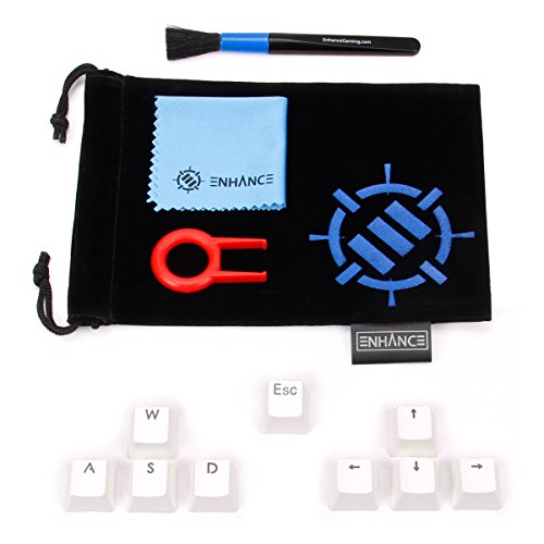 ENHANCE Doubleshot PBT Keycaps Set Gaming Upgrade Kit - Backlit Clear WASD Keycaps Compatible with Mechanical Switches - Keycap Puller, Dust Brush and Microfiber Cloth - White ()