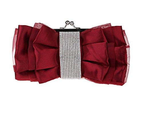 Fleurs main pour mode de enveloppe Sac Violet en soie Diamant à Luckywe clutch Femme élégant bow vXqSTS