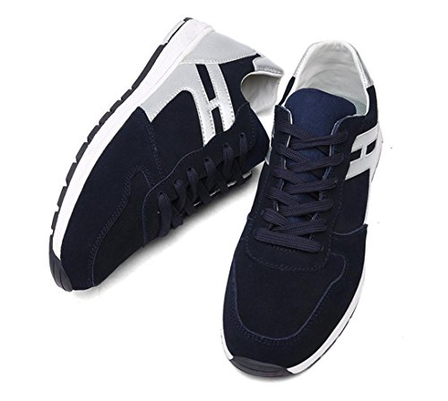 WZG los zapatos del otoño y del invierno al aire libre deportes de los hombres se deslizan los zapatos de los hombres ligeros atan plana Blue