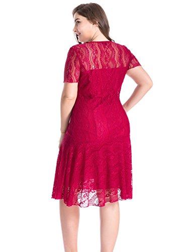 Swing Fiesta con Cóctel Rojo Mujeres Casual Encaje Vestido Vestido Chicwe Vino Tallas Grandes Floral RgIWzXFq
